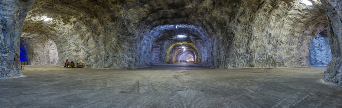 Panorama inside Salt mine Targu Ocna