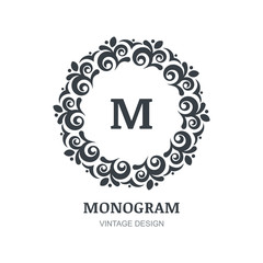 Abstract vector vintage logo. Elegant monogram design template.