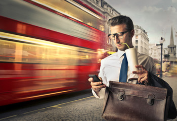 Businessman travelling for work