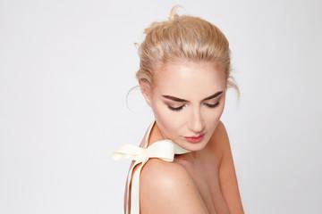 Beautiful sexy blond woman natural makeup nude body shape