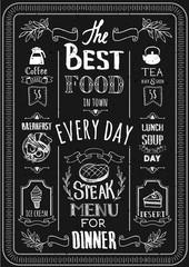 Vector illustration with menu on a blackboard.