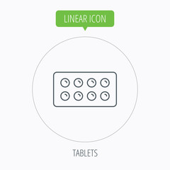Tablets icon. Medical pills sign.