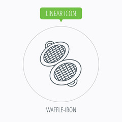 Waffle iron icon. Kitchen baking tool sign.