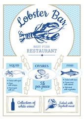 Fish restaurant. Lobster bar poster.