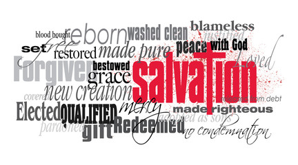 Christian Salvation word montage with red cross