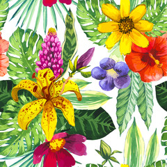 Printed kitchen splashbacks Watercolor Nature Vector illustration with watercolor flowers.