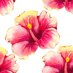 Vector illustration with red chinese hibiscus.