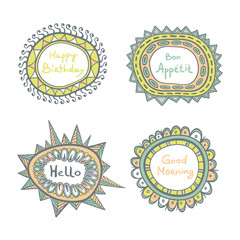 Vector hand drawn color frames in ethnic style