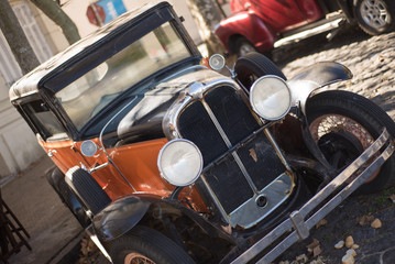 Vintage Car at Colonia gistoric Town. Traveling Uruguay, South A