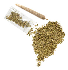 Weed in the shape of Sao Tome and Principe and a joint.(series)