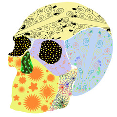 The skull in the Mexican style.Flowers and patterns.