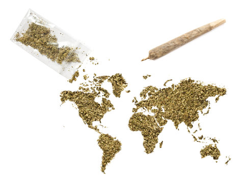 Weed in the shape of the world and a joint.(series)