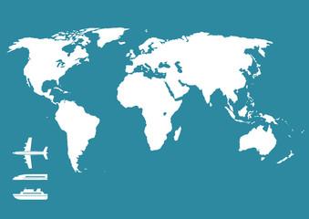 飛行機 新幹線 船 世界地図