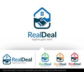 Real Estate Deal - House Deal Logo Template Design Vector