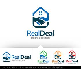 Real Estate Deal - House Deal Logo Template Design Vector