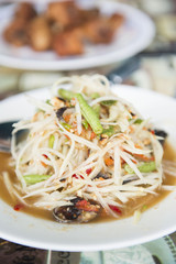 """Som Tum"" spicy papaya salad Thai food"