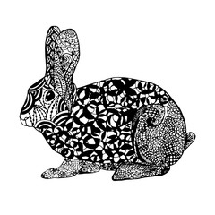 Zentangle stylized rabbit. Sketch for tattoo or t-shirt.