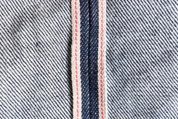 Raw denim jeans red selvedge texture, japan raw denim jeans.