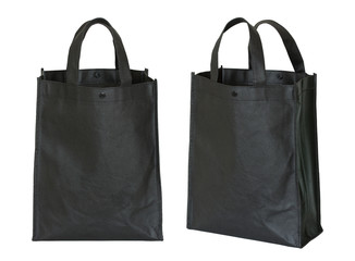 black shopping bag isolated on white