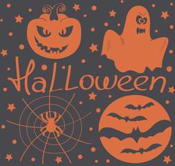 Halloween vector. Pumpkin, ghost, spider, bat