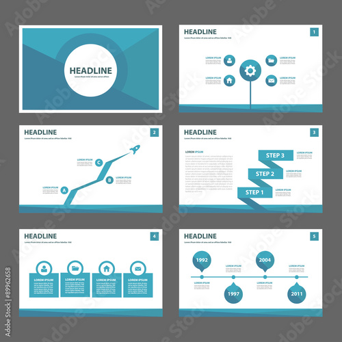 blue polygon infographic presentation template flat design set for, Presentation templates