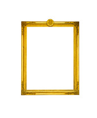 Antique golden frame on white isolate background with clipping p