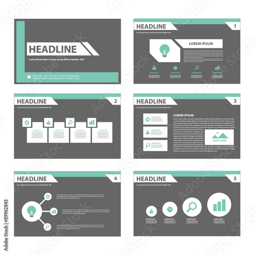 black and green infographic presentation template flat design set, Powerpoint templates