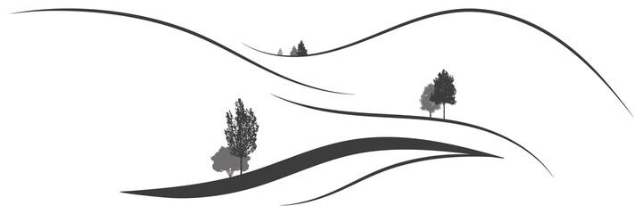 Panorama Berglandschaft mit Bäumen