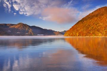 Lake Chuzenji, Japan at sunrise in autumn