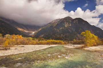 Azusa River and Autumn colours in Kamikochi, Japan