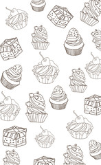 ,beautiful solid background with a picture cakes on white background