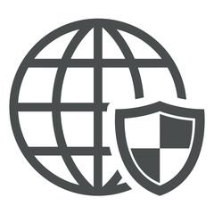 Icono aislado GPS seguridad gris