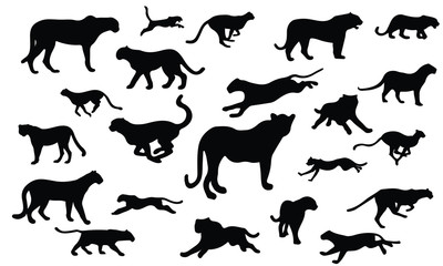 Cheetah Silhouette, set vector Animals Icons