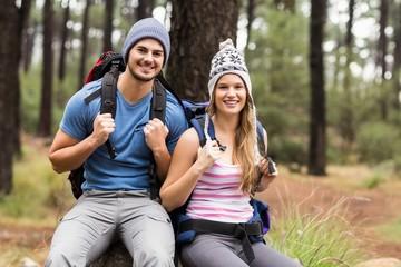 Portrait of a happy hiker couple
