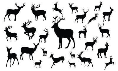 Deer Silhouette, set vector Animals Icons