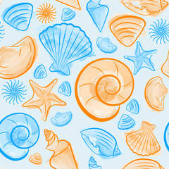 Seamless pattern with seashells created by watercolor brushes blue and orange