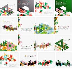 Set of triangle geometric abstract backgrounds. Universal