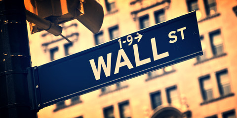 Close up of a Wall street direction sign, New York City, vintage process