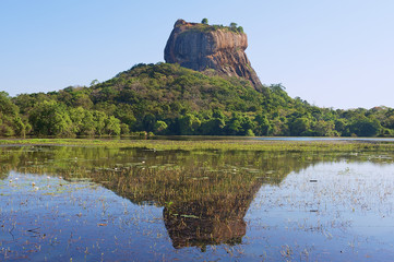 View to the Sigiriya rock fortress with reflection in water in Sigiriya, Sri Lanka. Sigiriya is a UNESCO World Heritage site.