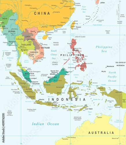 southeast asia map highly detailed vector illustration