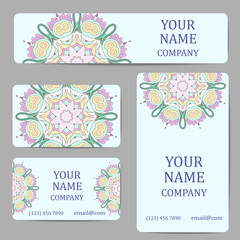 Business cards with mandalas in gjel style. Card or invitation.Vintage decorative elements. Ethnic, Indian, Islamic, Asian, ottoman, Arabic motif.