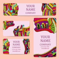 Business cards. Card or invitation.Vintage decorative elements. Corporate Identity vector templates set