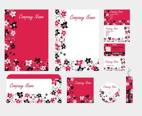 Corporate floral red black style - Vector