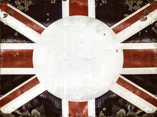Rusted metal sign with the English flag