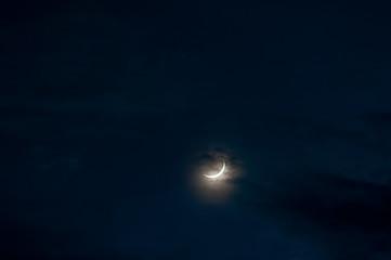 Dark stormy sky with moon