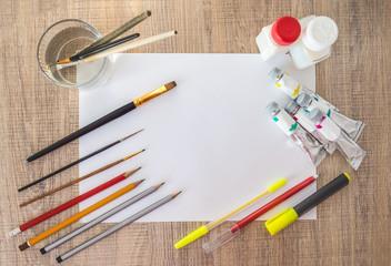 Acrylic paints, paintbrushes, pencils on white paper