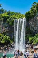 済州島 正房瀑布 海に流れる美しい滝 The Jeongbang Waterfall which falls directly into the sea, Jeju-do, South Korea