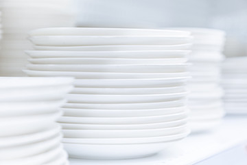 Dishes Plates stacked white and clean tableware