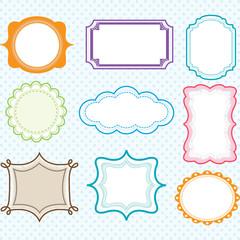 Colorful Label Frames,Elegant Ornate frames set