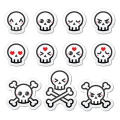 Kawaii cute Halloween skull labels set
